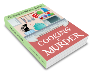 Cooking is Murder is Myrtle Clover book 11 by Elizabeth Spann Craig. The cover features a black cat on a kitchen counter with a bloody knife in the background.
