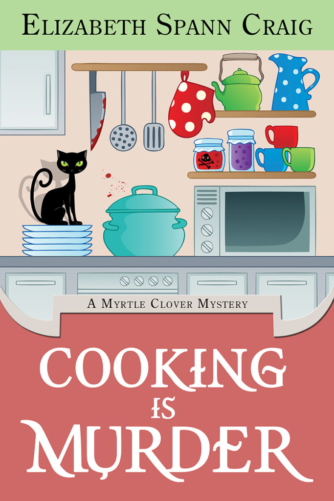 The Cooking is Murder by Elizabeth Spann Craig cover features a black cat sitting on a stack of plates in a kitchen with a bloody knife nearby.