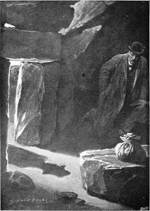 Watson lying in wait for the mysterious stranger. Artist Sidney Paget, 1901. Wikimedia Commons.