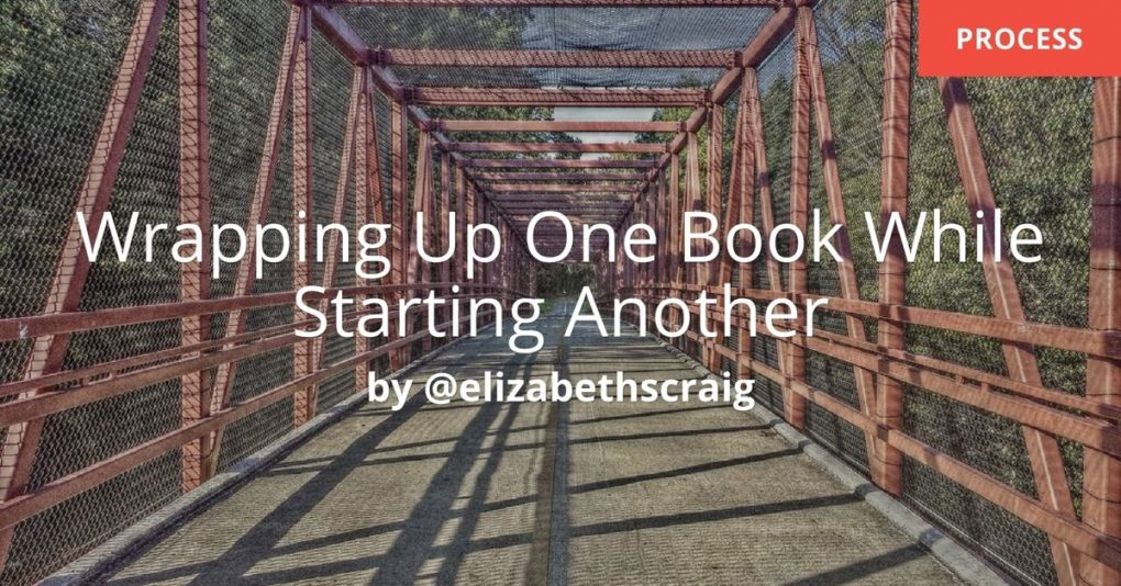 A metal bridge stretches ahead. The post by Elizabeth S. Craig is on the process of wrapping up one book while starting another.