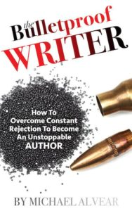 The Bulletproof Writer cover by Michael Alvear features an open bullet with gunpowder spilled out on a white background.