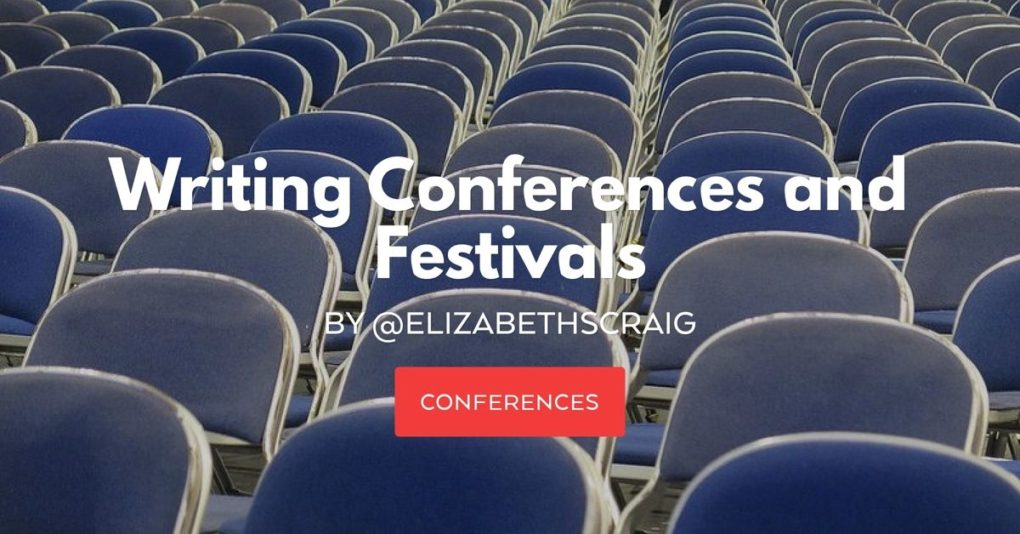 A room of empty blue chairs demonstrates the size of a writing conference or festival