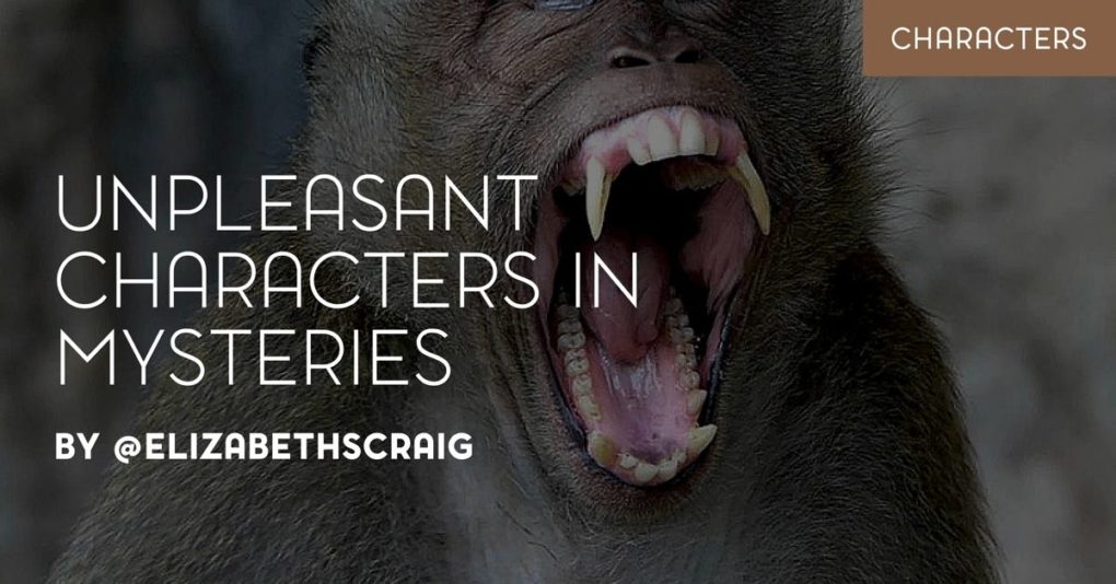 "Screaming ape in the background with teeth exposed and the post title, ""unpleasant characters in mysteries"" superimposed on top."