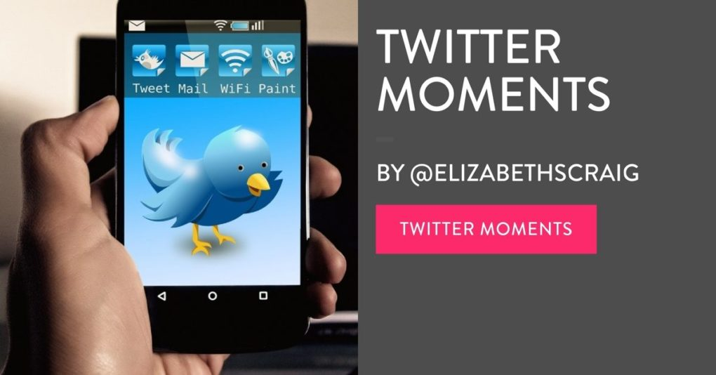 Hand holding a cell phone with a picture of a Twitter bird on the screen with 'Twitter Moments', the post title, superimposed on the photo.