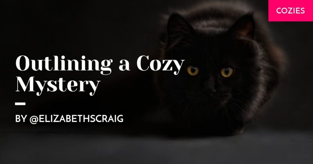 A black cat sits to the left side of a dark background while the post title, 'Outlining a Cozy Mystery' is superimposed on the side.