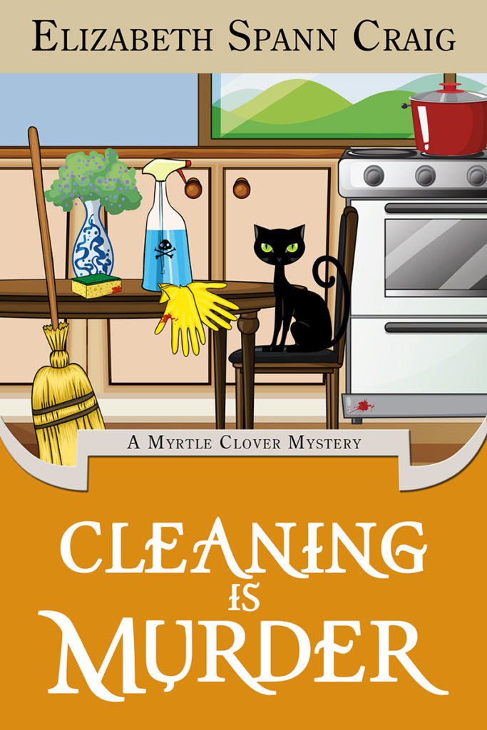 Cleaning is Murder features a black cat on a kitchen chair in a blood-stained kitchen.