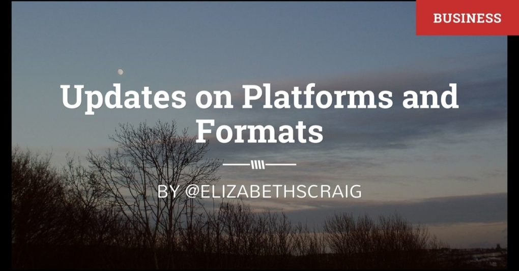 "A winter landscape with the post title ""Updates on Platforms and Formats"" superimposed on the top."