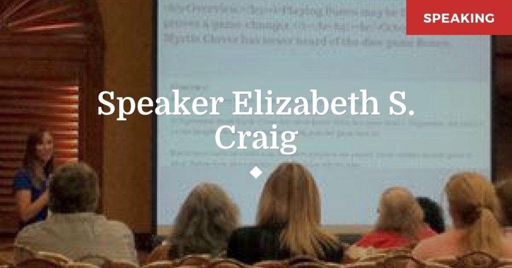 Speaker Elizabeth Spann Craig