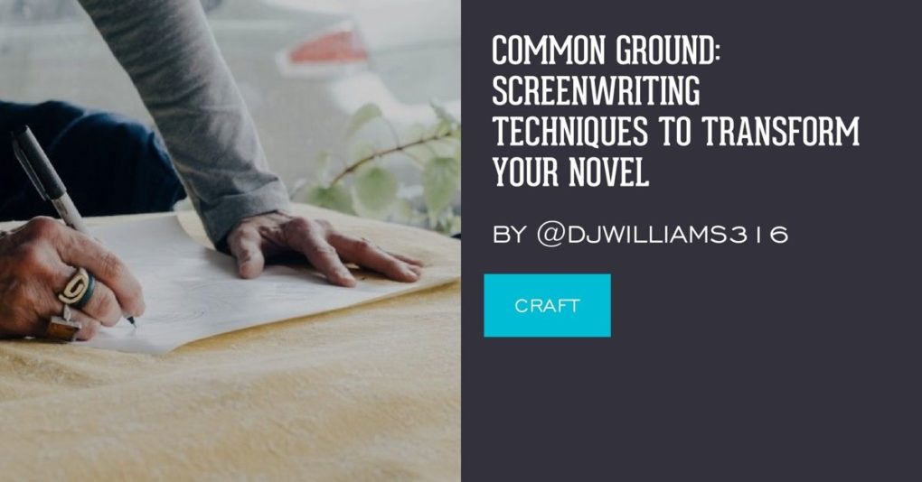 """A man wearing unusual rings is writing on paper. The post title """"Screenwriting Techniques to Improve Your Novel"""" is superimposed on the side"""