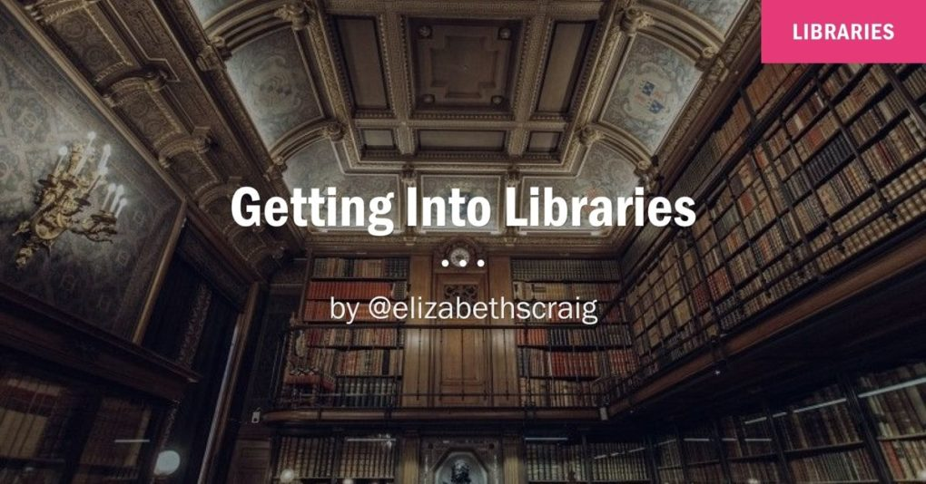 A tremendous library with soaring ceilings is in the background to emphasize how writers can get their books into libraries.