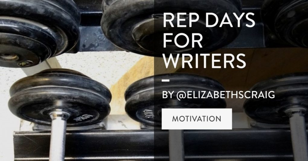 """A weight room shows weights resting on racks and the post title, """"Rep Days for Writers"""" is superimposed on the top."""